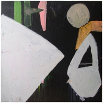 Untitled (Counterposition), Gesso, Acrylic, Household paint, Oil, Spray paint on Canvas, 100 x 100 cm's, EC 2013