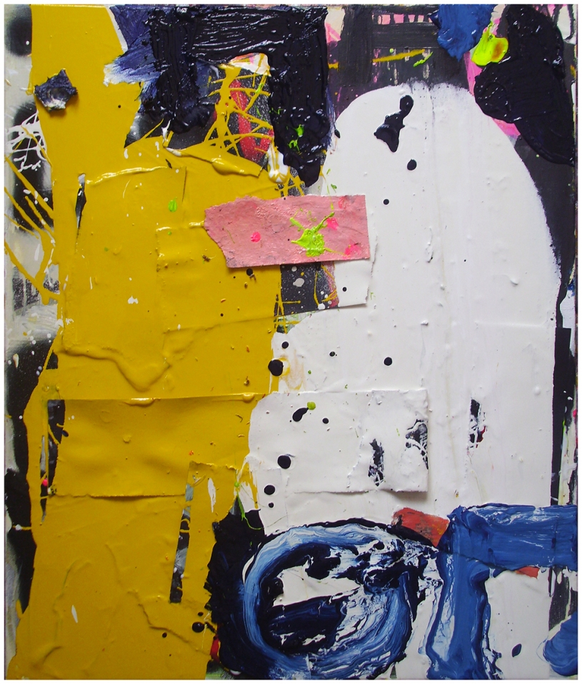 Untitled, Oil, Oil-based-household paint, Oil stick, Collage, Acrylic & Spray paint on canvas, 50x60 cm, EC 2013