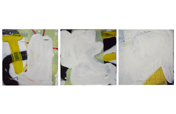 Oil, Oil-based household paint, Permanent marker, Acrylic, Spray paint on canvas, 13 x 13 cm each, EC 2013