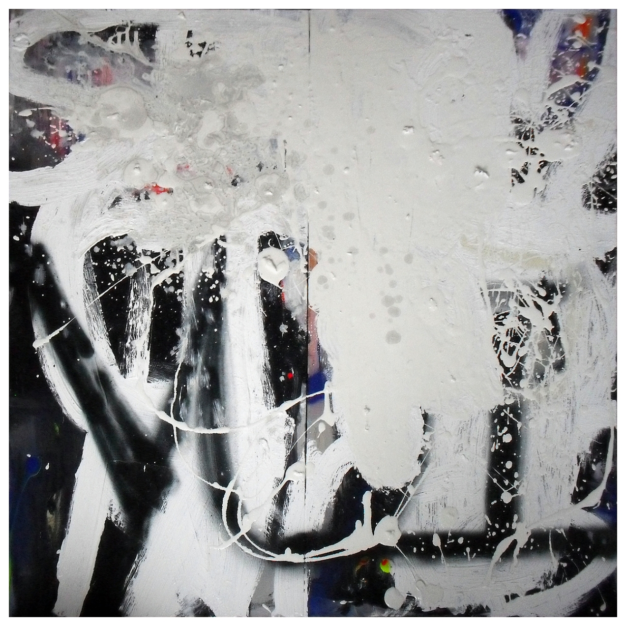 Untitled, Oil, oil stick & spray paint on linen, 2 panels, 101 x 154 cm, EC 2013