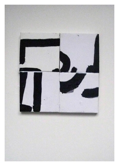 Untitled (Incoherence), Oil on 4 canvases (5 x 5 cm each) mounted on A4 card, EC 2013