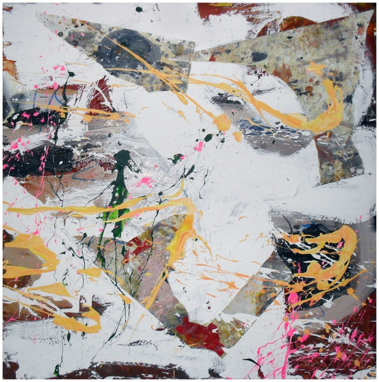 Untitled, Oil, Acrylic, Household paint, Permanent marker & Collage on canvas, 100 x 100 cm, by EC 2013