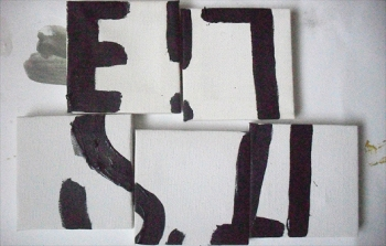 Untitled, Permanent marker & Oil on 5 x 5 cm canvases on card, EC 2013