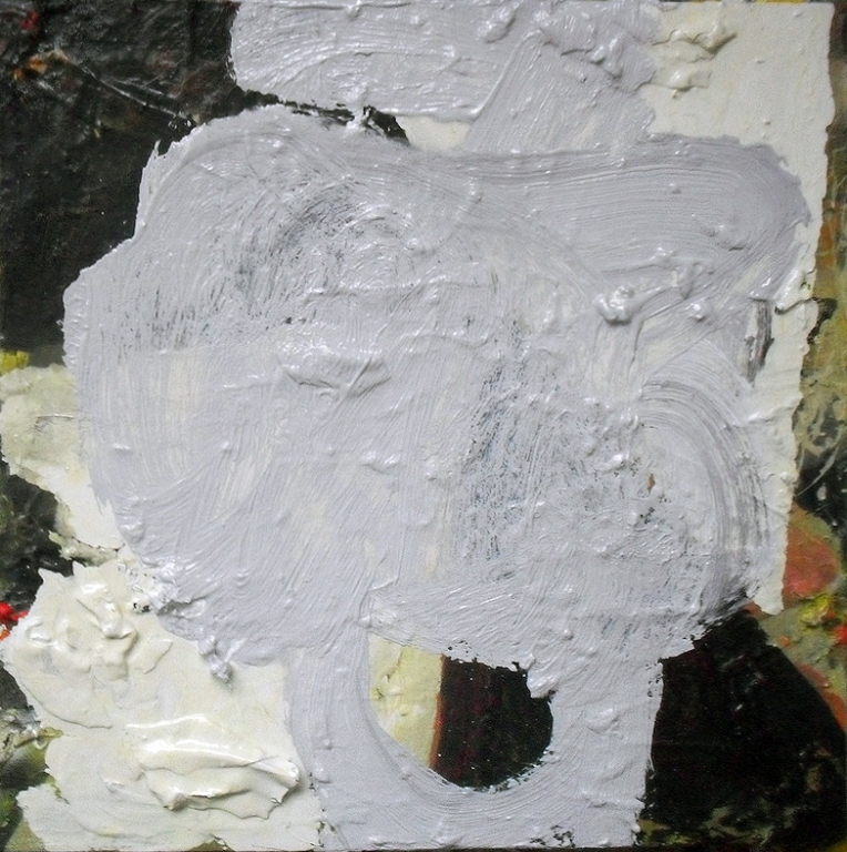 Untitled, Oil, Oil-based household paint, Spray paint & Acrylic on Linen, 40 x 40 cm, EC 2013 - Destroyed
