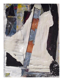 Untitled, Oil, Oil-based household paint, Acrylic & Collage on Canvas, 10 x 5 cm, EC 2014