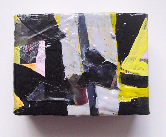 Untitled (Phrased), Oil, Collage & Acrylic on Canvas, 5 x 10 cm, EC 2014