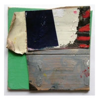Untitled (1),  Gouache, Permanent marker, Oil, Household paint & Collage on Linen on Board,  10 x 10 cm,  by EC 2014 LOW RES