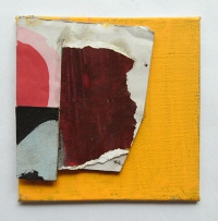Untitled (2),  Gouache, Permanent marker, Oil, Household paint & Collage on Linen on Board,  10 x 10 cm,  by EC 2014 LOW RES