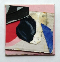 Untitled (3),  Gouache, Permanent marker, Oil, Household paint & Collage on Linen on Board,  10 x 10 cm,  by EC 2014 LOW RES
