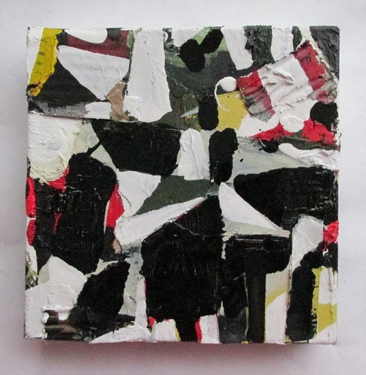 Pretty Useful Plaything, Oil, Oil-based household paint, collage & acrylic on canvas, 20 x 20 cm, By EC 2015