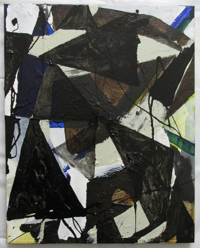 Contingent (Digression), Oil-based household paint, oil, spray paint & acrylic on canvas, 51 x 40 cm, By EC 2014-2015