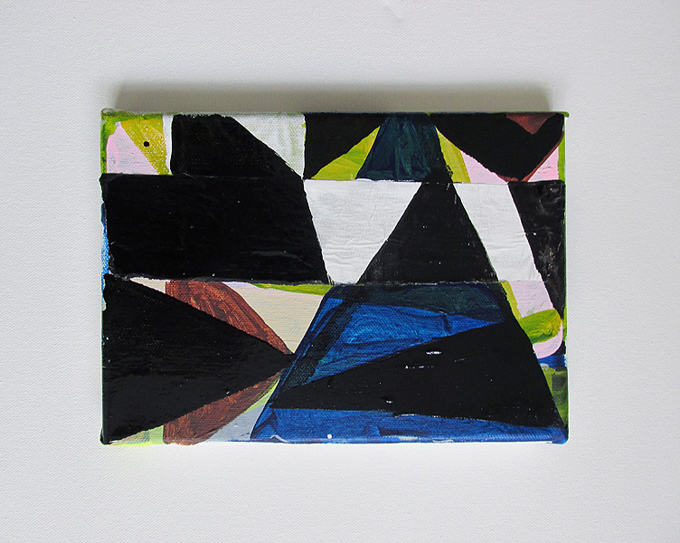 Emergence, Acrylic, tape & oil-based household paint on canvas, 15 x 21 cm, By EC 2015.
