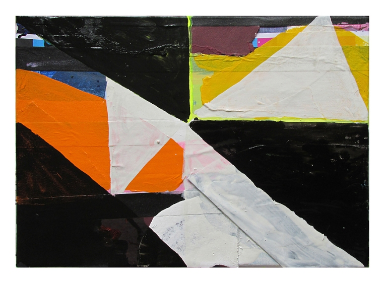 Game Outcome, Acrylic, card & oil-based household paint on canvas, 26 x 36 cm, By EC 2015