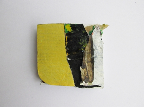Structures and Strictures, Oil, Oil-based household paint, spray paint and card on canvas, 5 x 5 cm approx, By EC 2015