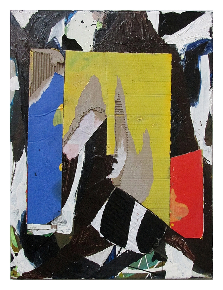 Trascrizione, Oil, oil-based household paint & collage on canvas, 40 x 30 cm, By EC 2015