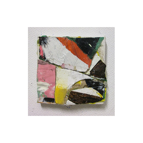 Untitled, Oil, oil-based household paint, acrylic, spray paint & collage on canvas, 5 x 5 cm, By EC 2015