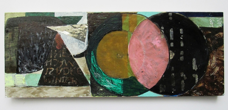 Oil based pencil, acrylic, oil-based household paint, household varnish, permanent marker, correction fluid and collage on board,  33x12.7cm, BY EC 2016 FWP