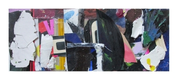 Brouhaha, Oil, acrylic, household paint, household varnish, collage & oil on canvas on board, 33 x 12.7cm, EC 2017 fwp