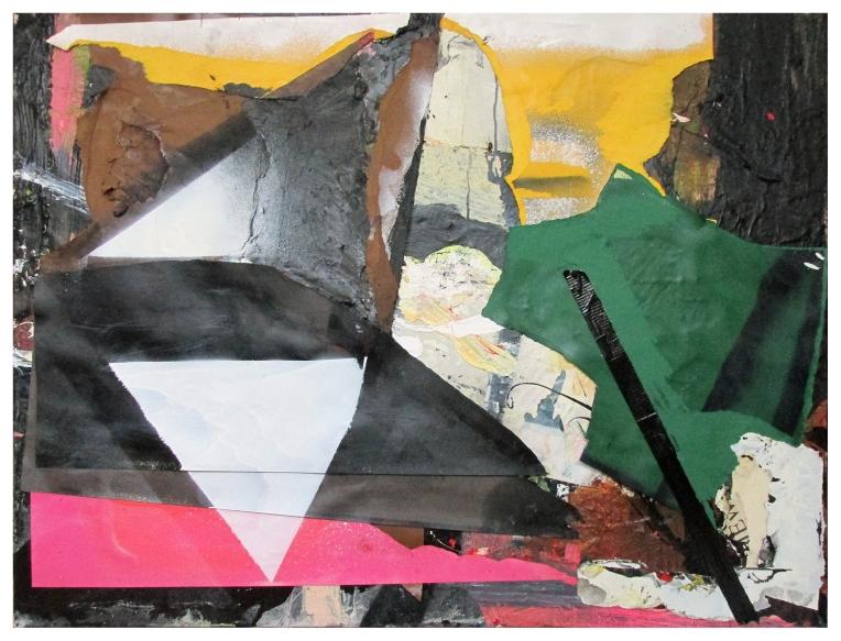 Lamina, Oil, acrylic, spray paint, paper & tape on canvas, 102 x 76 cm, By EC 2017