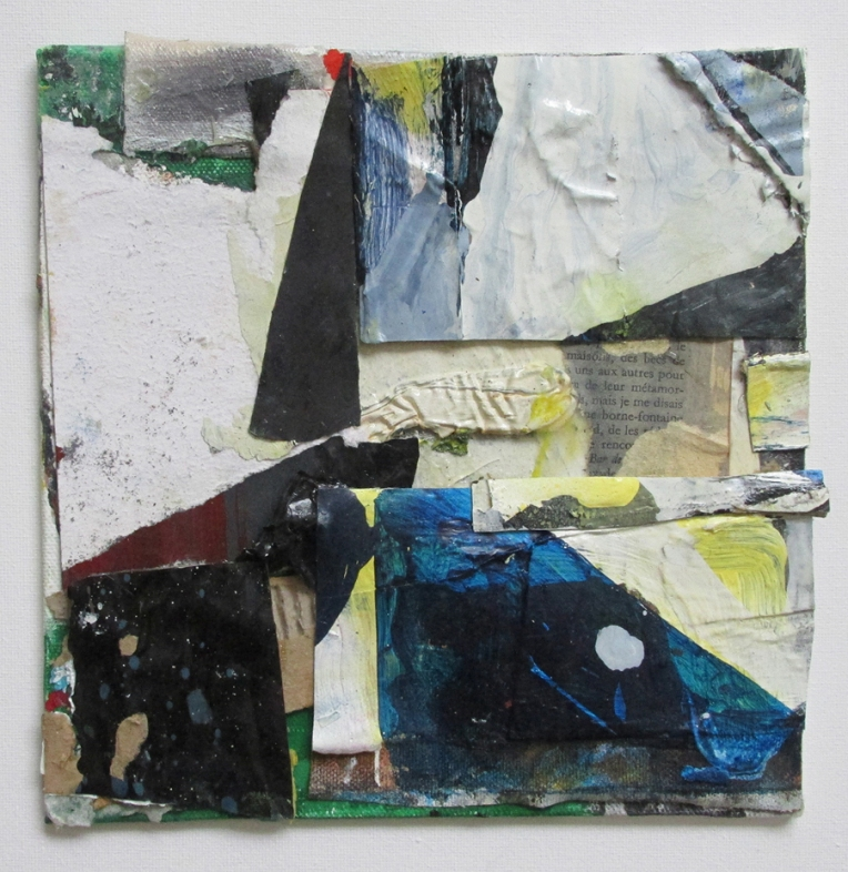 Wunderblock II, Oil, acrylic and household gloss on canvas and card, collage and paper mounted on canvas on board, 20 x 20 cm approx, By EC 2017