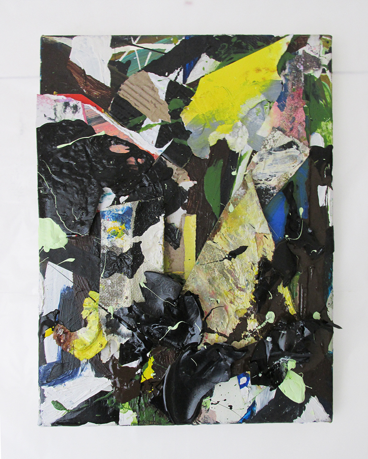 Scuffle, Oil, household gloss, acrylic, spray paint on paper, card & canvas, 36 x 26 cm, By EC 2018 FWP3FINAL